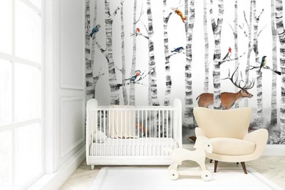 papier-peint-enfant-foret-animaux-balade