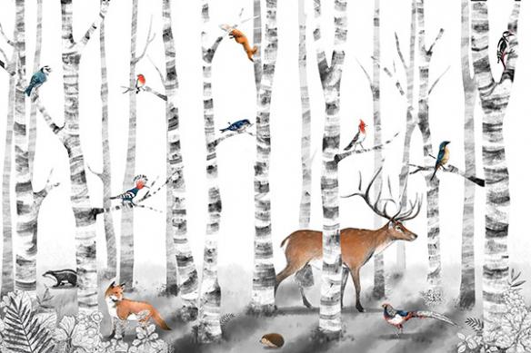 papier peint foret animaux