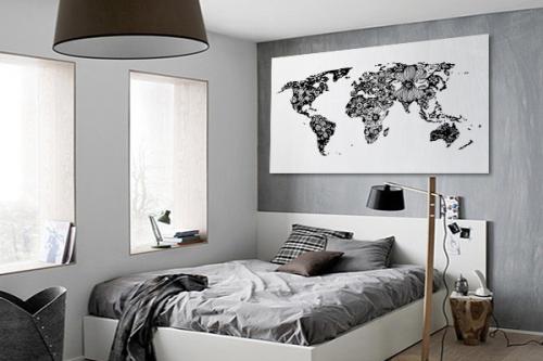 planisphère déco noir et blanc fleurs