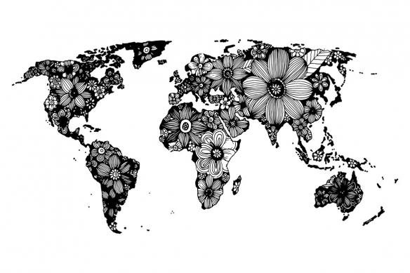 tableau carte du monde noir et blanc fleurs