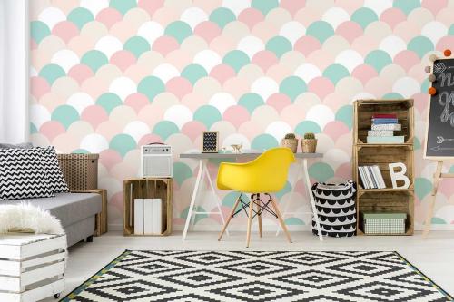 Papier peint chambre fille Tuiles pastels