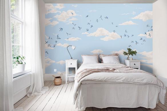 papier-peint-panoramique-chambre-oiseaux-dans-le-ciel