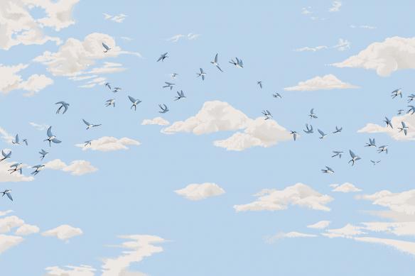 papier peint panoramique bleu ciel oiseaux et ciel