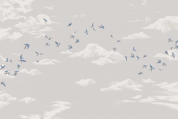 papier peint gris oiseaux dans le ciel