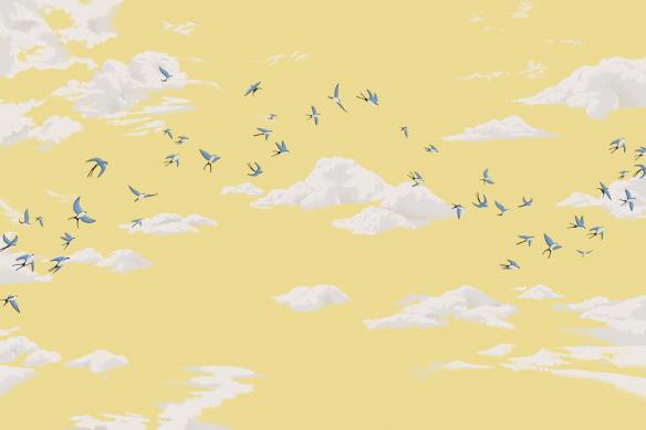 papier peint tendance jaune ciel et oiseaux