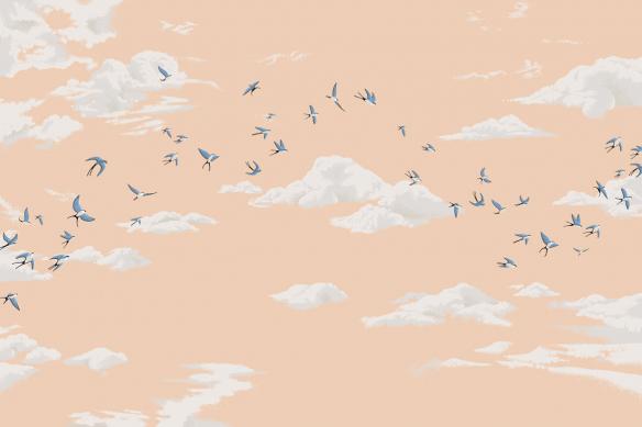 papier peint panoramique ciel et oiseaux orange