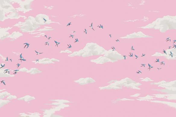 tapisserie chambre fille oiseaux et ciel rose