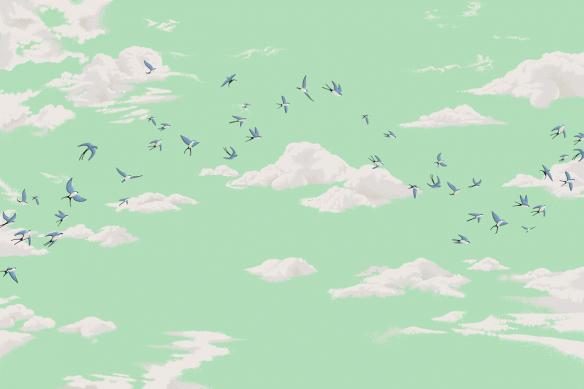 papier peint moderne oiseaux et ciel vert