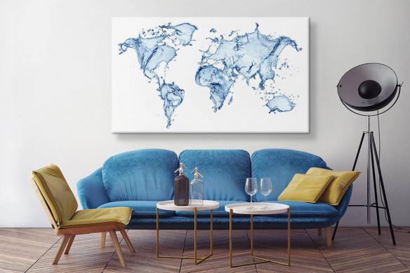 Tableau carte du monde Eau