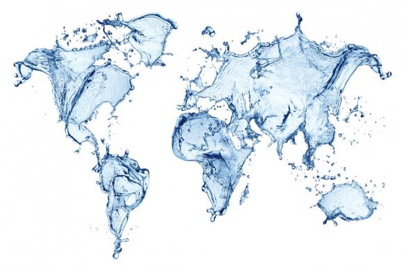 carte du monde déco eau bleu ciel