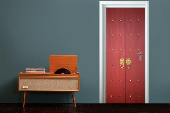 sticker porte rouge et or design