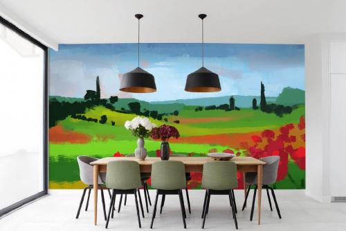 Papier peint paysage Prairie effet peinture
