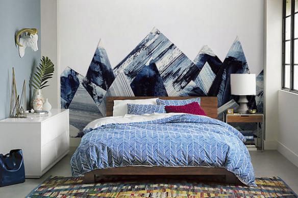 Papier peint scandinave Montagne abstraites bleues