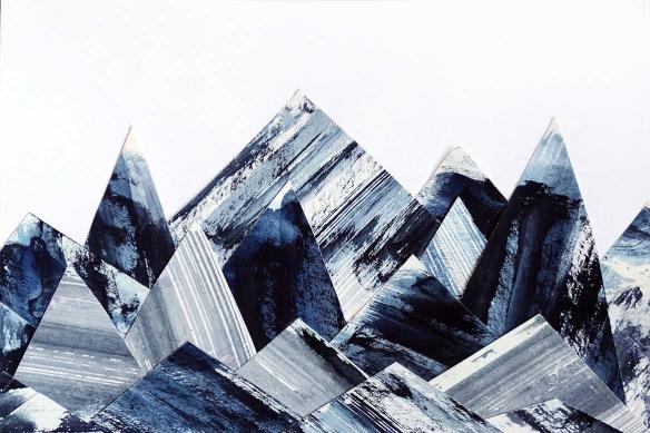 tissu mural montagnes abstraites bleues