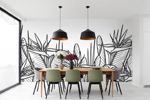 Papier peint tropical noir et blanc Heliconia