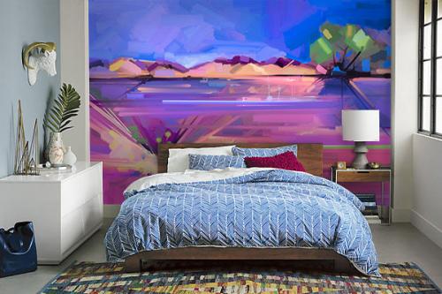 tapisserie murale chambre violet byzantium