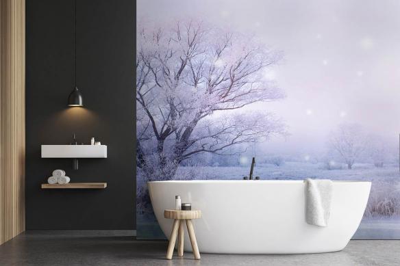 papier peint salle de bain arbre gele hiver