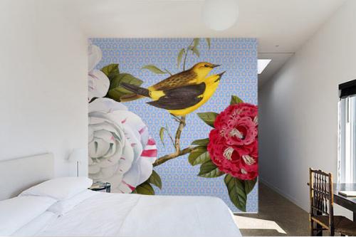 papier-peint-chambre-fleurs-et-oiseaux