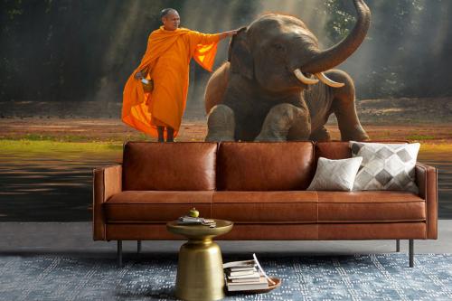 Papier peint salon éléphant et bonze