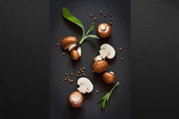 déco murale cuisine champignons de paris bruns