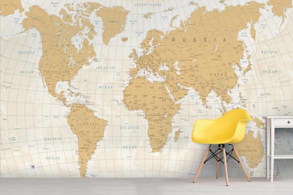 Papier peint carte du monde jaune sable