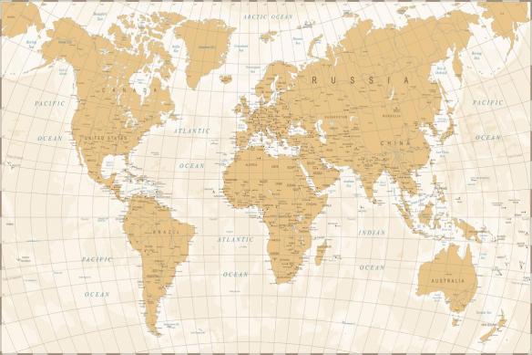 planisphère monde jaune sable