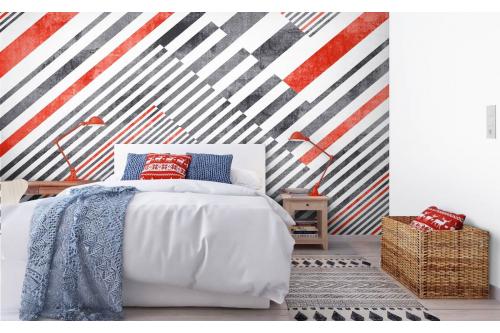 Papier peint graphique rayures rouges et noires