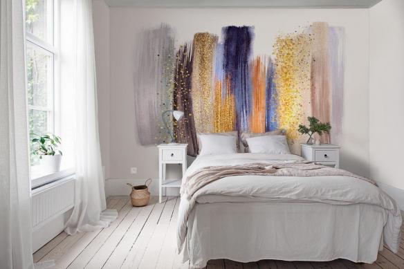 Papier peint panoramique chambre Palette Pailletée