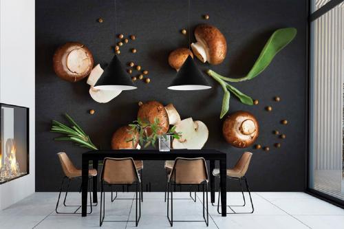 Papier peint cuisine Champignons de Paris bruns
