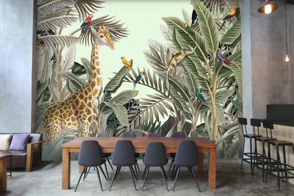 Papier peint panoramique jungle animaux