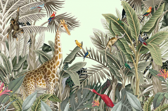 papier-peint-jungle-animaux