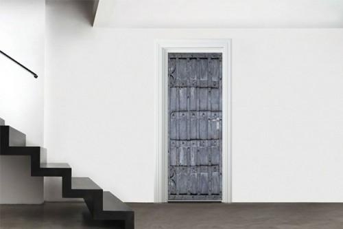 Stickers porte d'entrée Métal gris