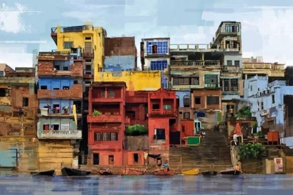 Tableau géant peinture favelas