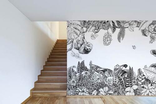papier-peint-jungle-noir-et-blanc-paresseu-vegetale