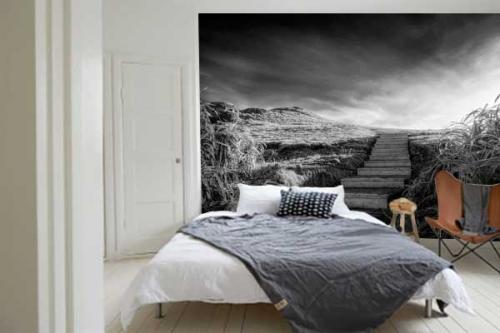 papier-peint-panoramique-noir-et-blanc-chemin-vers-la-quiétude