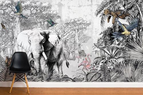 papier-peint-savane-noir-et-blanc
