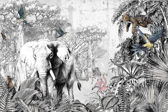 papier-peint-jungle-animaux-savane-couleurs