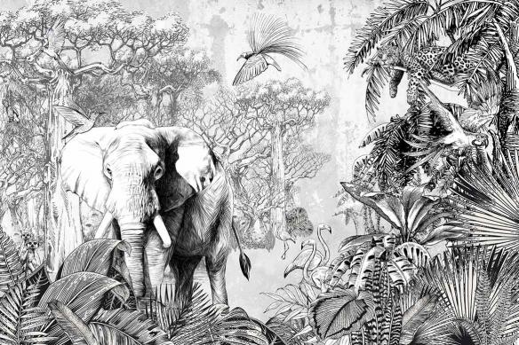 papier-peint-jungle-noir-et-blanc-savane