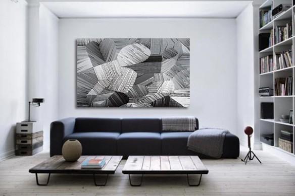 Grand tableau abstrait Fil de fer