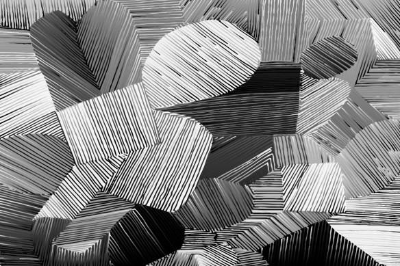 tableau art abstrait gris fil de fer