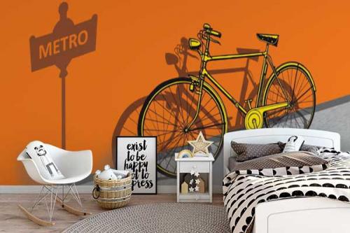 décoration-chambre-ado-papier-peint-vélo-métro