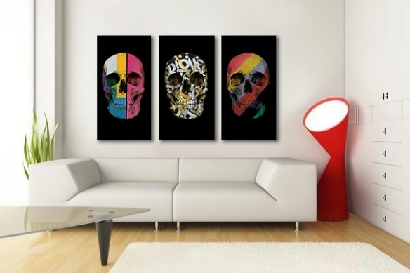 tableau tête de mort multicolore
