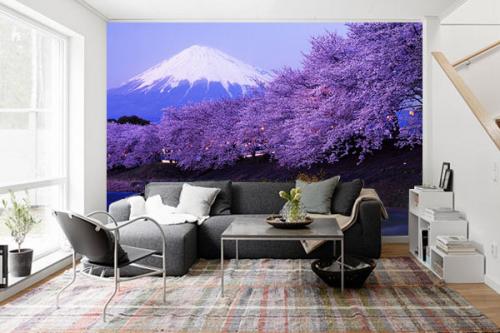 Papier peint panoramique montagne et cerisiers