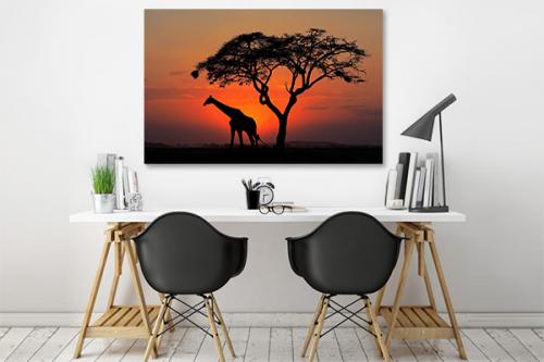 Tableau africain Girafe crépuscule
