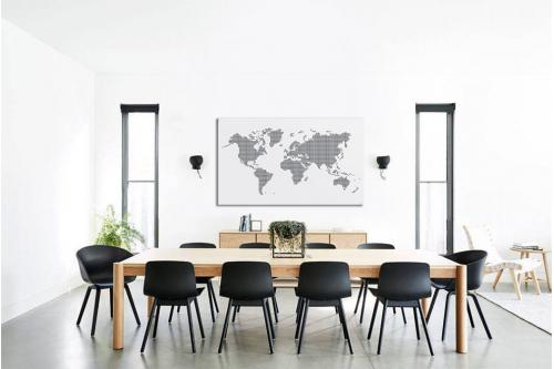 Tableau carte du monde noir et blanc Points