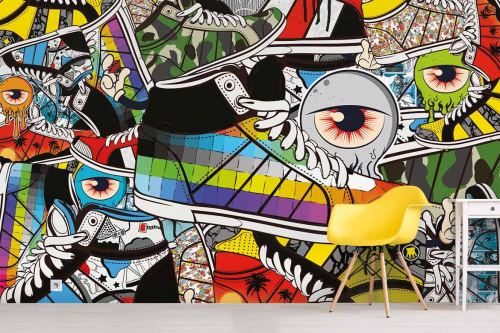 Papier peint street art Pattern Shoes