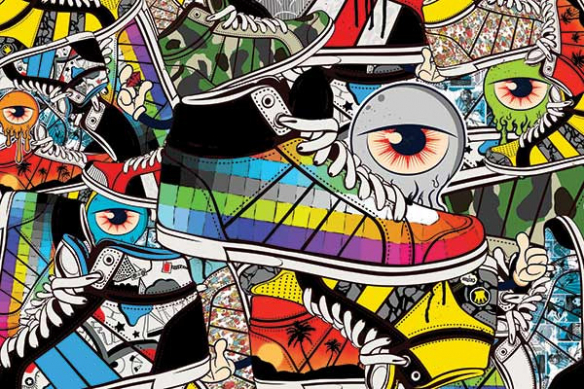 papier peint tendance sneakers addict
