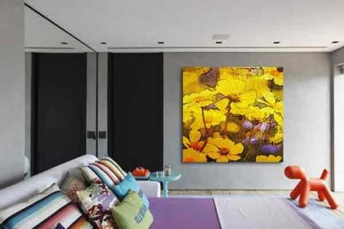 Tableau mural fleur Pâquerettes jaunes