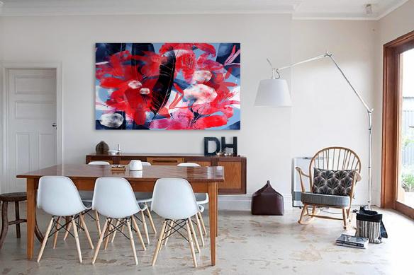 Cadre tableau rectangulaire Plume florale