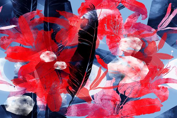 tableau plume floral